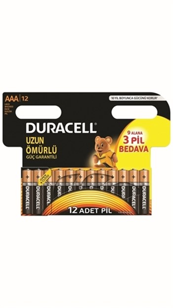 Duracell İnce Kalem Pil 9+3 AAA